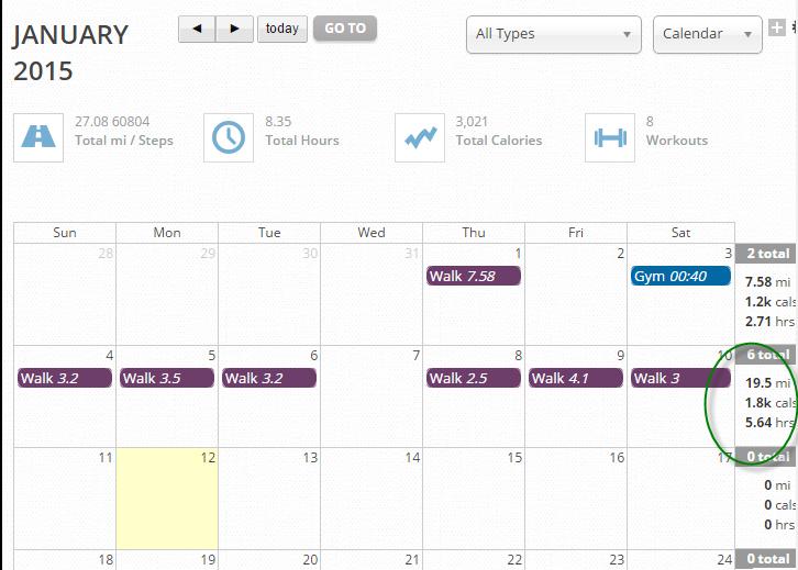 Calendar view of exercise
